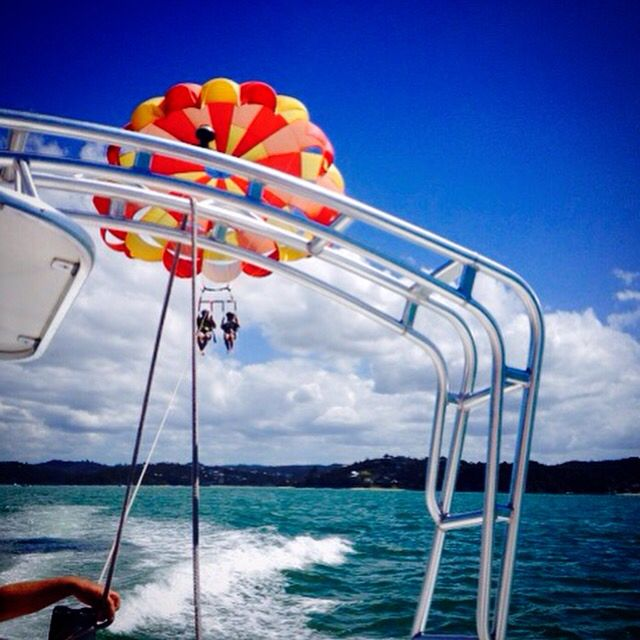 My husband and I faced our fears and parasailed in Paihia, NZ- awe inspiring experience