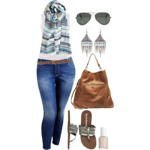 Summer Scarf & Denim - Plus Size #plus  #size #outfit