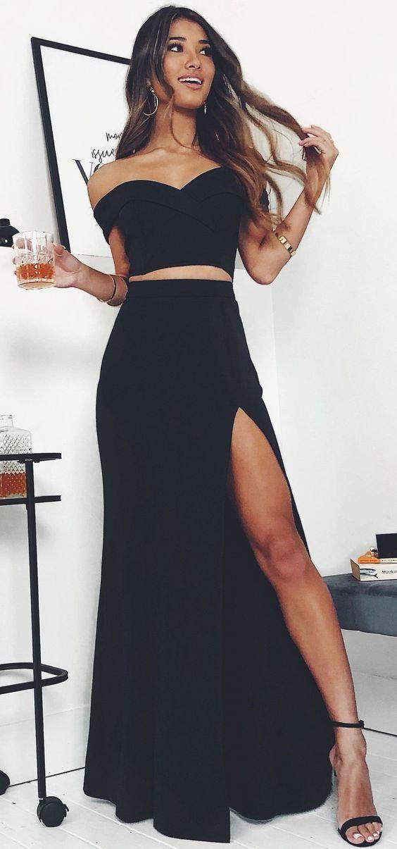 Black Off the Shoulder Mermaid Prom Dresses with Split Side