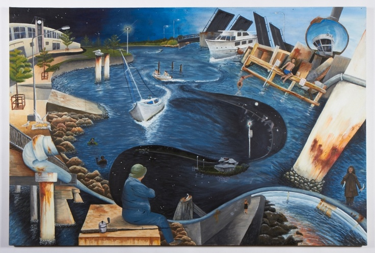 """Under my bridge with Ronbison""  Painting by Sharna Leah Stephens of Swansea High School"