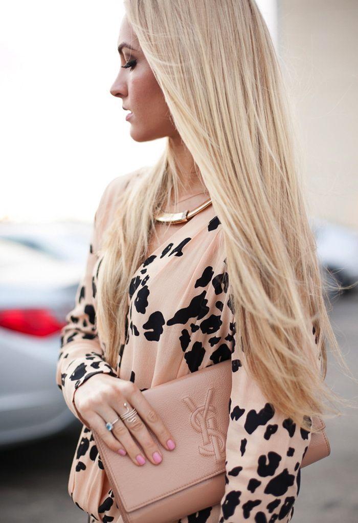 YSL nude leopard print blouse