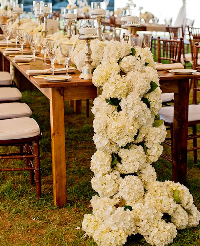 Love Hydrangea? Here is an outstanding table runner for you! White Hydrangea run the length of the table and cascade down to the floor.