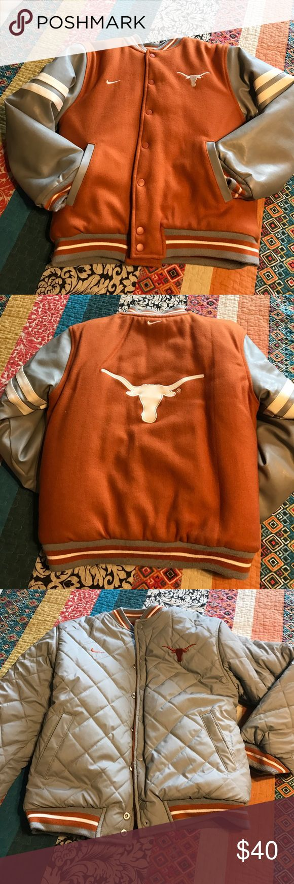 University of Texas varsity jacket Awesome varsity jacket that is reversible - gray side is water-proof & burnt orange side is wool just like the big guys wear! There is two snaps missing from the bottom of  the coat but it really doesn't hurt the coat any still very warm & functional! From my smoke free dog loving home Nike Jackets & Coats