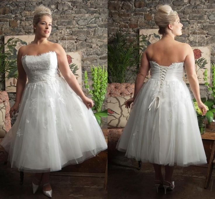2015 Spring Plus Size Wedding Dresses Lace Tea Length A Line Strapless Bridal Gowns Cheap Corset Wedding Dresses from Wheretoget,$122.51 | DHgate.com