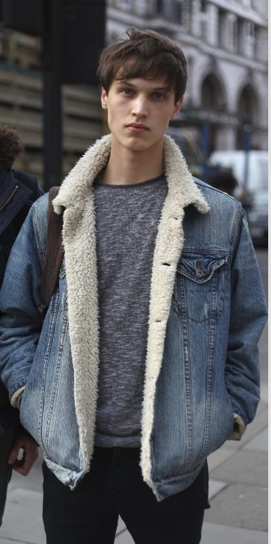 Men S Denim Coat With Sheep Fur Lining Clothing And Accessories