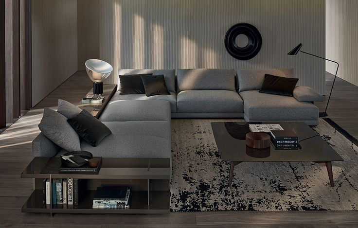 Poliform_Bristol composition in removable fabric with horizontal arm. Visone glossy lacquered small tables to the back of the sofa and side table, piombo painted metal feet. Bigger coffee table with structure in spessart oak and glossy petit granit marble top.