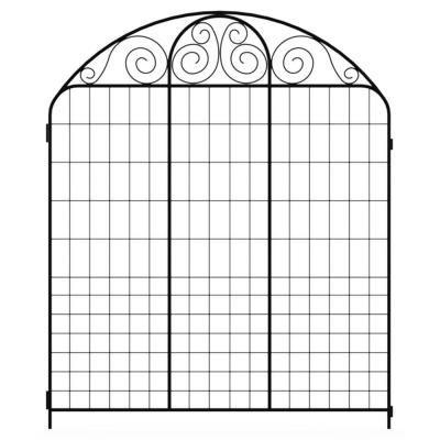 Hampton Bay 3 ft. x 3-2/3 ft. Black Steel Summer Scroll Fence Panel-860220 - The Home Depot