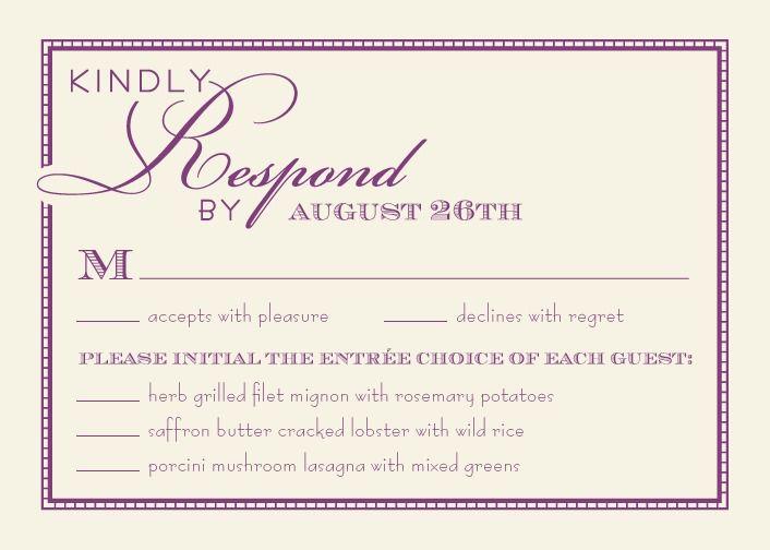Pantone Purple Wedding Response Card