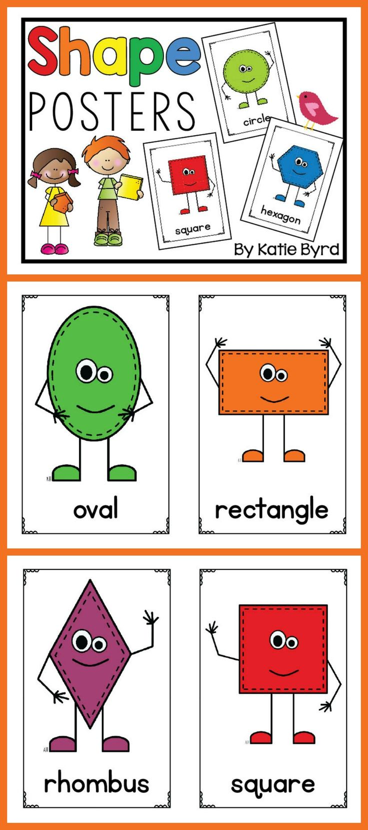 Shape posters that go with any classroom decor!  They make a great reference bulletin board or can be used for shape activities also.  Perfect for any kindergarten or first grade classroom. $