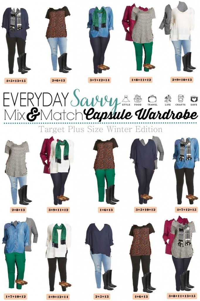 Looking for a fun winter plus size capsule wardrobe? Check out this one with 15 mix and match items from Target women's clothes line of Ava and Viv. It's trendy and affordable. That is a big win in my book. This making getting dressed and looking great each morning easy!