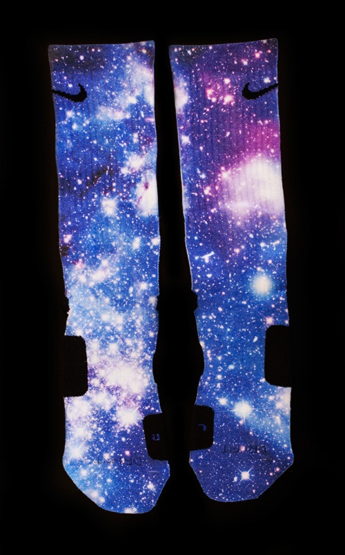 Custom Nike Elite Galaxy socks are even flashier, featuring a variety of patterns showcasing the stars and planets of the galaxy. While Galaxy socks are typically worn by soccer players, there are also Dri-FIT Nike Elite Galaxy basketball socks, perfect for the basketball court.