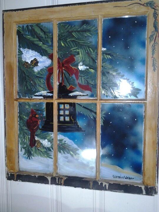 Cardinal and lantern painted window