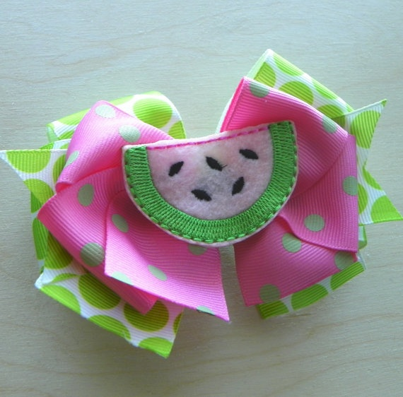 Pink Watermelon Layered Boutique Hair Bow by fortheloveofzebra, $6.00