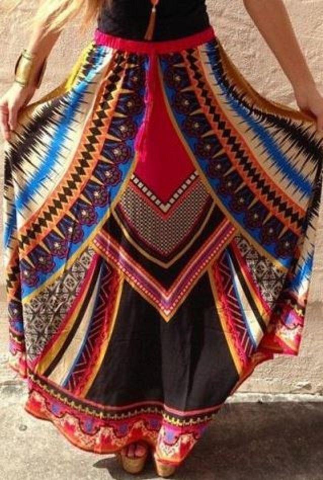 Gorgeous Colors! Ethnic Style Elastic Waist Printed Women's Skirt #Gorgeous #Colors #Ethnic #Tribal #Bohemian #Style #Maxi #Skirt #Fashion