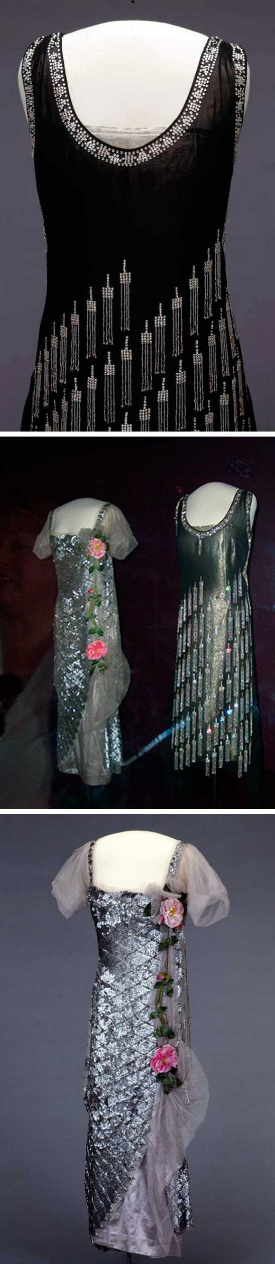 Two dresses made for Queen Maud of Norway. The black one is by Blancquaert, circa 1927. Hand- and machine-woven silk with glass bead embroidery. The silver one was possibly made by Barolet, circa 1921.