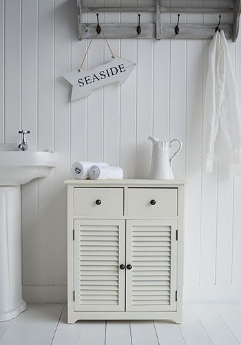 Hamptons cream large bathroom cabinet for storage furniture