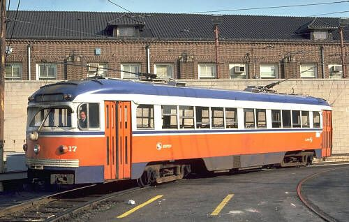 """The """"newest"""" equipment on the Red Arrow lines were these St. Louis-built cars, built in 1949"""