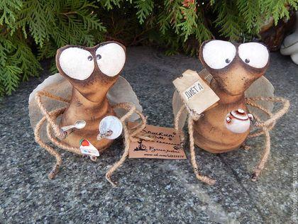 Ароматизированные куклы ручной работы. Ярмарка Мастеров - ручная работа. Купить Мухи на диете. Handmade. Коричневый, хлопок, акриловые краски