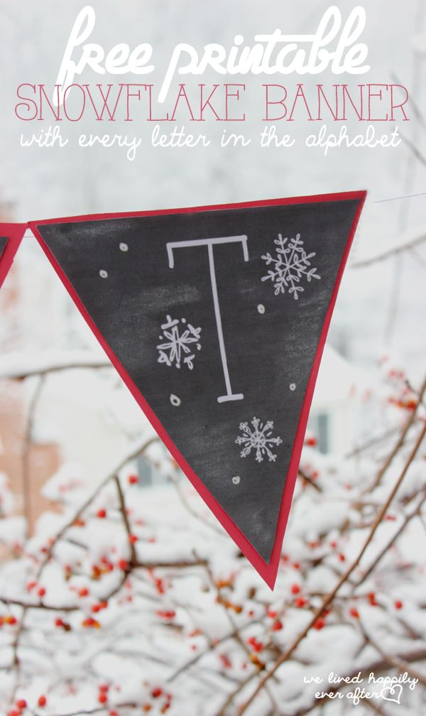 """Let It Snow"" Printable Snowflake Banner (includes a document with all the letters in the alphabet too!)"