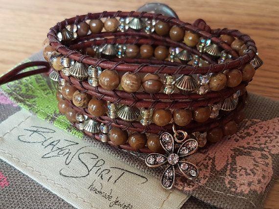Beaded Leather Wrap Bracelet Boho Wrist Wrap 6.5 by BlazonSpirit