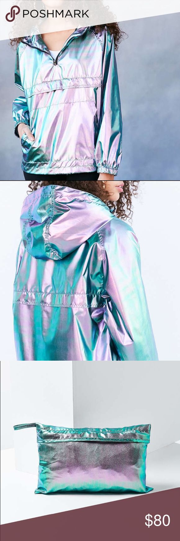 Iridescent Windbreaker Jacket 🌈 NWOT. Shine bright even while taking cover in this iridescent popover windbreaker jacket. In a super light weight water-resistant construction that packs up into a mini travel pouch. Fits relaxed with a zip-front chest, kangaroo pouch pocket and adjustable draw chord hood. Includes jacket + mini zip pouch. Runs big, so may fit up to L-XL. silence + noise Jackets & Coats