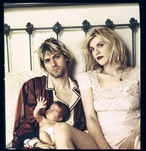 Kurt Cobain, Courtney Love and Frances Bean Cobain.