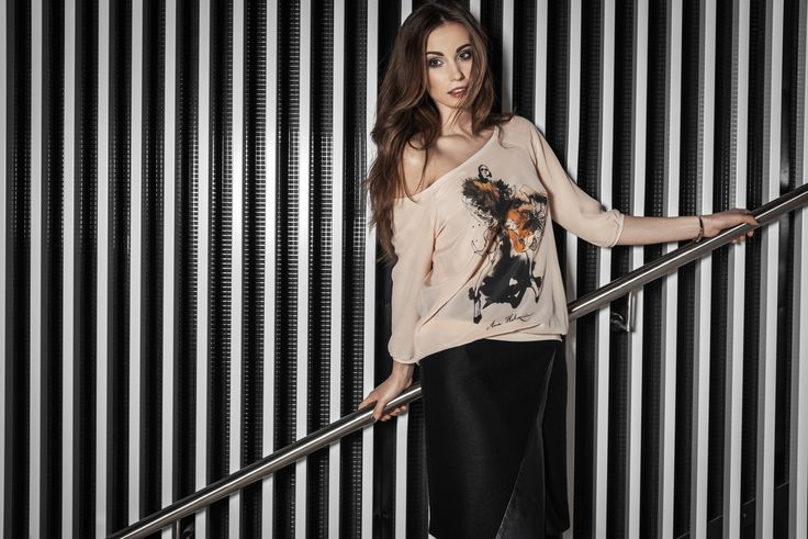 Silk blouse with fashion illustration