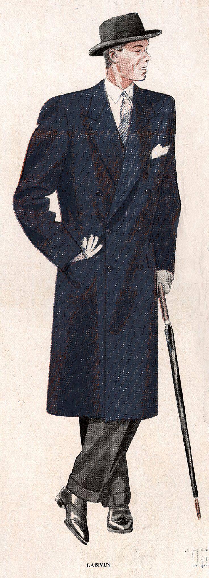 Pantalon et pardessus bleu marine pour homme, 1946 © Patrimoine Lanvin. #Lanvin125