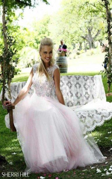 2014 A-Line Pink Sherri Hill 3885 Prom Dress Long #sherri hill #2014 prom dress #long dress #pink dress