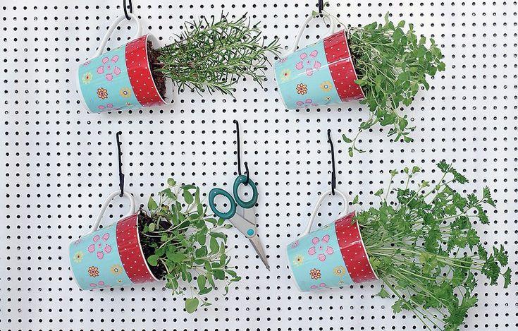 Essa dica é boa para ter em casa e dar de lembrança: mini-horta portátil de ervas plantadas em canecas