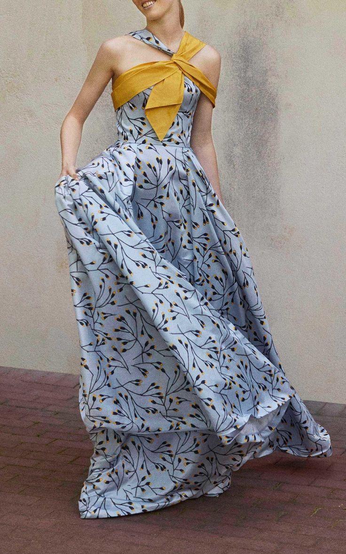 Flower Bud Sateen Halter Gown by Carolina Herrera