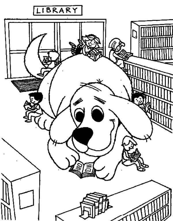 Library Clifford The Dog In Library Coloring Pages Dog Coloring Page Coloring Books Halloween Coloring Pages