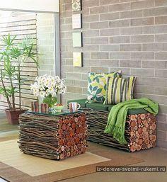 Интересная мебель из веток, фанеры и спилов | Из дерева своими руками: поделки, мебель, мастер-классы