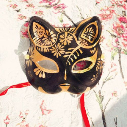 Half-Face-Hand-Painted-Japanese-Fox-Mask-Demon-Kitsune-Cosplay-Masquerade-Noh