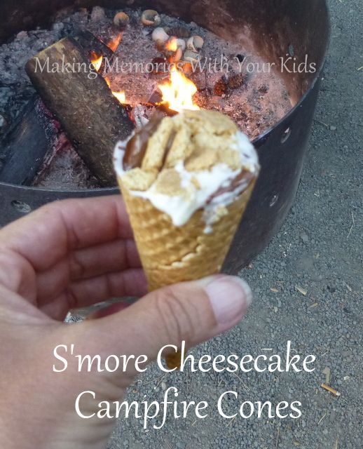 s'more cheesecake campfire cones - I think Dad and I should get a camper - just so I can eat these
