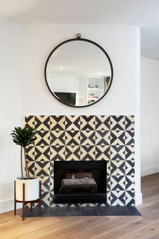 geometric tile + modern mirror   domino.com
