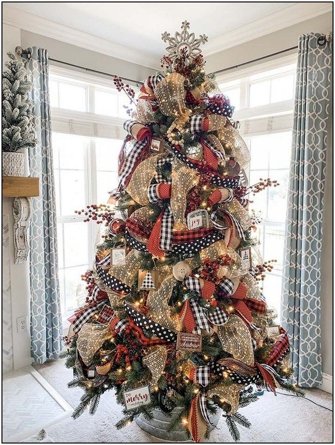 152 Awesome Christmas Decor For To Make Cooking More Fun Page 25 Homydepot Com Christmas Tree Inspiration Ribbon On Christmas Tree Plaid Christmas Decor