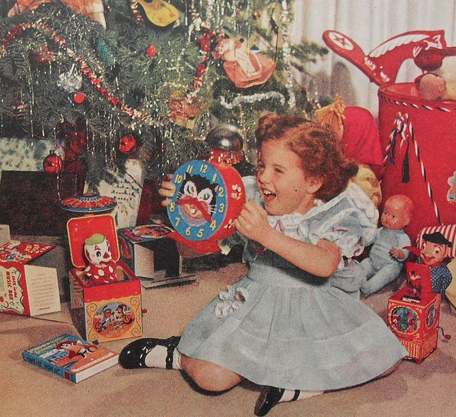 1950s Christmas Morning Girl Kiddie Clock Toys Vintage Photo Jack In The Box by Christian Montone, via Flickr
