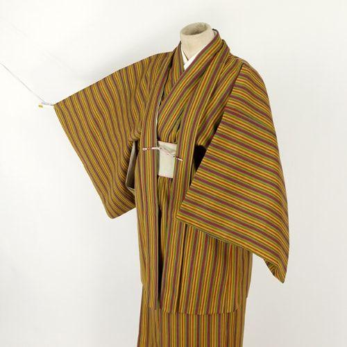 Brown, stripe, ensamble kimono set  / 細縞柄を織り上げたウール素材のアンサンブル http://www.rakuten.co.jp/aiyama #Kimono #Japan #aiyamamotoya