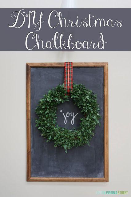 Easy DIY Christmas Chalkboard with Wreath | Life On Virginia Street