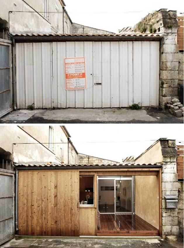 2 car garage turned into minimalist living space  Design
