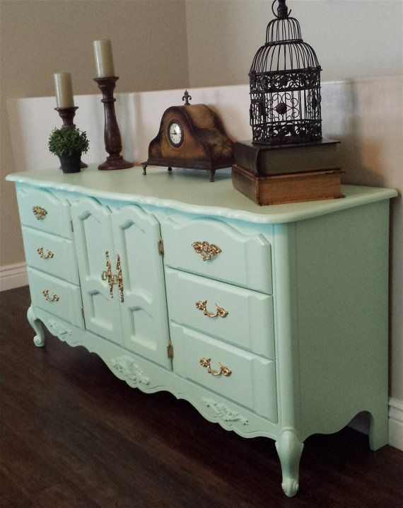 mint green & gold dresser buffet table media by ModernRefinement, $375.00