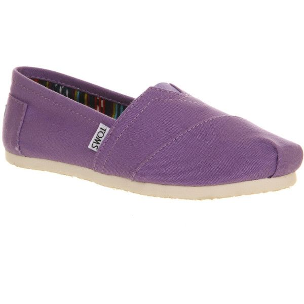Toms Seasonal Classic Slip On ($34) ❤ liked on Polyvore featuring shoes, flats, toms, women, purple dahlia canvas, flat shoes, purple flats, toms espadrilles, stitch shoes and flat slip on shoes