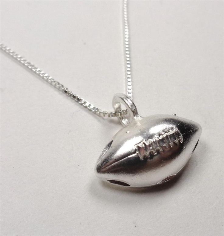 STERLING SILVER PRO FOOTBALL GAME BALL PIGSKIN SPORTS PLAYER PENDANT NECKLACE  | eBay