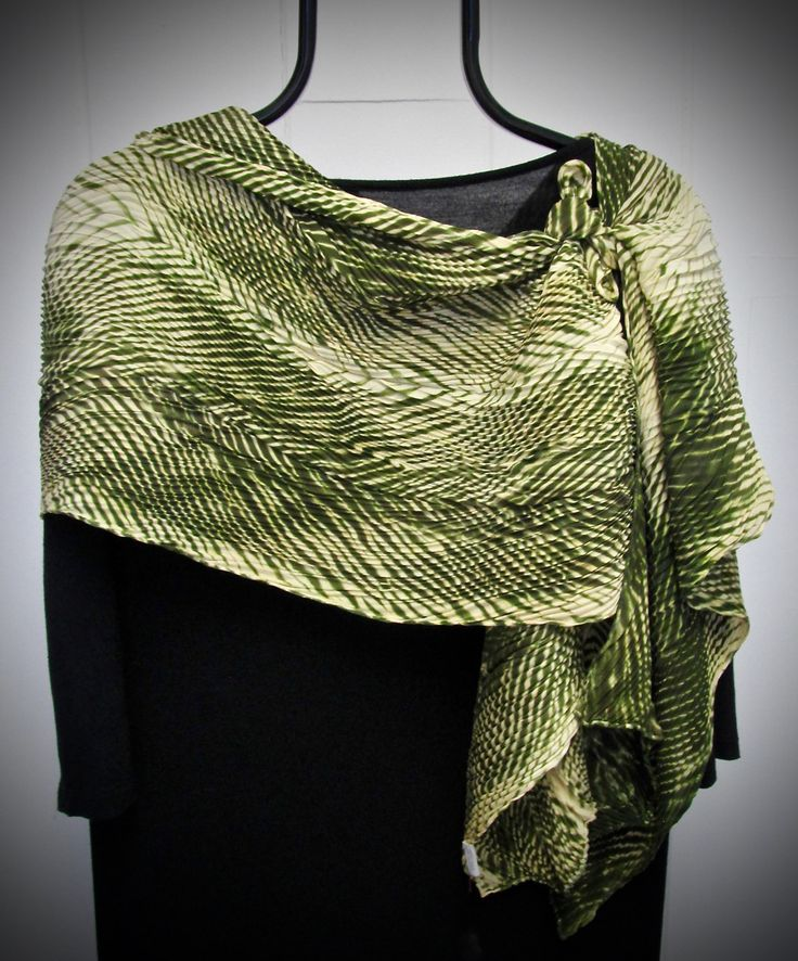 Valentine's Sale - The Electric Mower - Arashi Shibori Hand Dyed & Hand Pleated Silk Satin Scarf by daisyDdesigns on Etsy