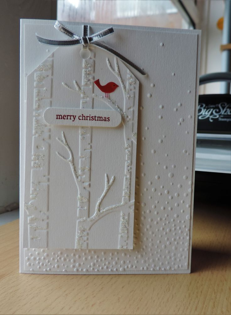 Card by Sue Ivings made using Stampin Up embossing folders - Softly Falling and Woodland.: