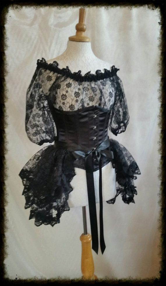 Plus Size Halloween Black Lace Bustle Skirt  STEAMPUNK GOTH