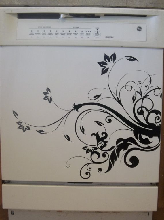 Such a great idea for small kitchen Decorating! Dishwasher Appliance  Vinyl Decal by VillageVinePress on Etsy, $19.95