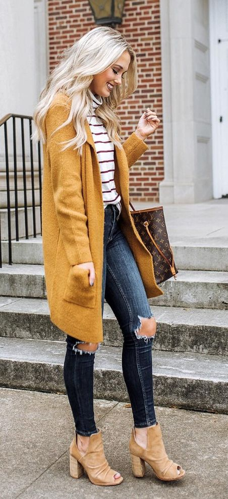 mustard coat, and all the accent pieces.