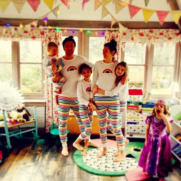 From http://www.jamieoliver.com/photos    Haha the whole family in Jools PJ's ...I can't believe Mother Care actually mad me a pair of her toddler Jim-Jams !! Very funny if not slightly strange. Although one little purple princes had hers in the wash & wasn't very happy bless her .......big love to all you guys  x x. X x xx x x. Xx x. X xx x x x x - Wednesday 19th of December 2012
